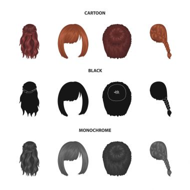 Kara, red braid and other types of hairstyles. Back hairstyle set collection icons in cartoon,black,monochrome style vector symbol stock illustration web.