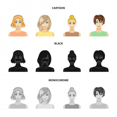 Types of female hairstyles cartoon,black,monochrome icons in set collection for design. Appearance of a woman vector symbol stock web illustration.