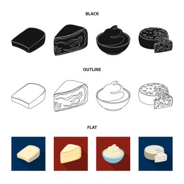 Gruyere, camembert, mascarpone, gorgonzola.Different types of cheese set collection icons in black,flat,outline style vector symbol stock illustration web.