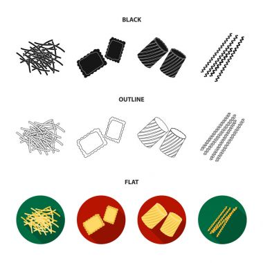 Different types of pasta. Types of pasta set collection icons in black,flat,outline style vector symbol stock illustration web.