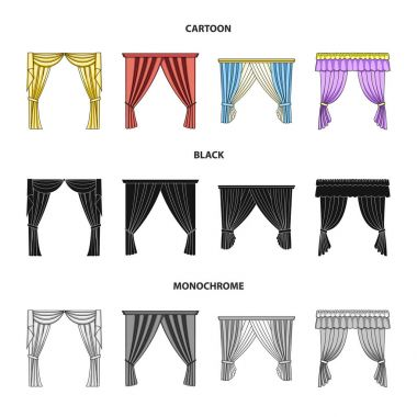 Different types of window curtains.Curtains set collection icons in cartoon,black,monochrome style vector symbol stock illustration web.