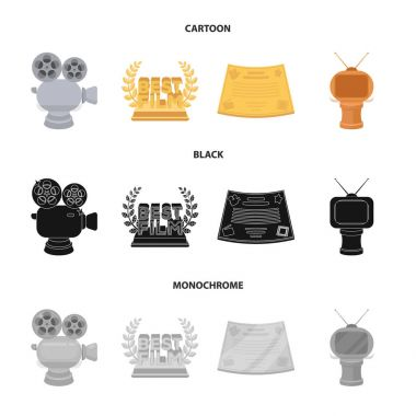 Silver camera. A bronze prize in the form of a TV and other types of prizes.Movie award,sset collection icons in cartoon,black,monochrome style vector symbol stock illustration web.