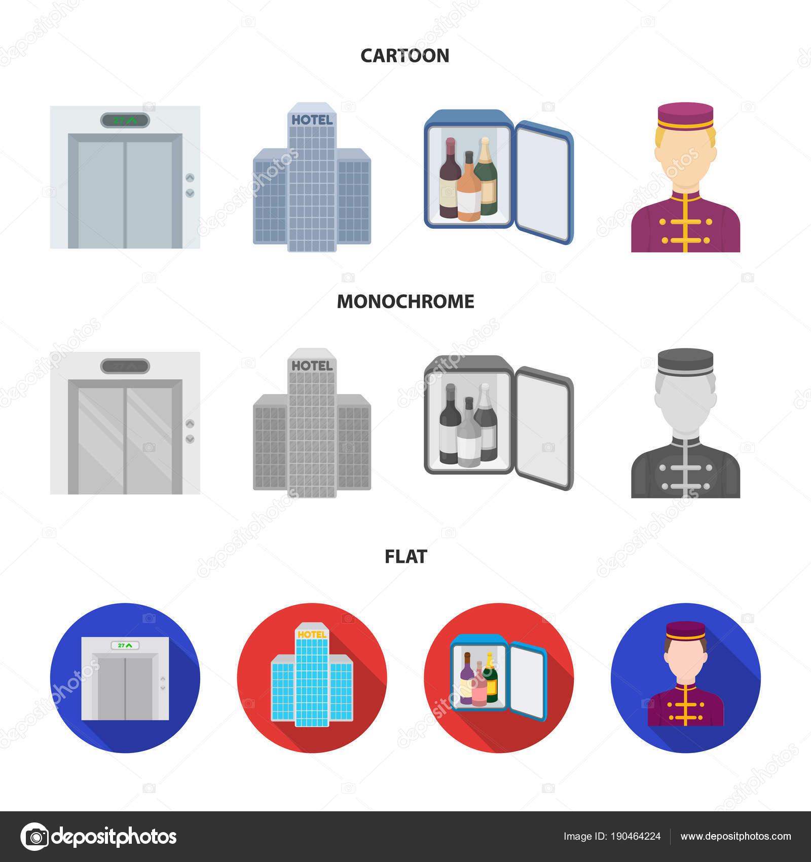 Asansör kabini, Bina personel bar, mini. Otel küme toplama simgeler ...