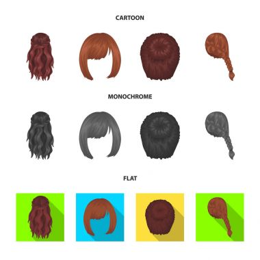 Kara, red braid and other types of hairstyles. Back hairstyle set collection icons in cartoon,flat,monochrome style vector symbol stock illustration web.