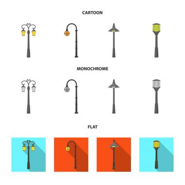 Lamppost in retro style,modern lantern, torch and other types of streetlights. Lamppost set collection icons in cartoon,flat,monochrome style vector symbol stock illustration web.