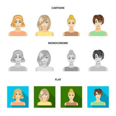 Types of female hairstyles cartoon,flat,monochrome icons in set collection for design. Appearance of a woman vector symbol stock web illustration.