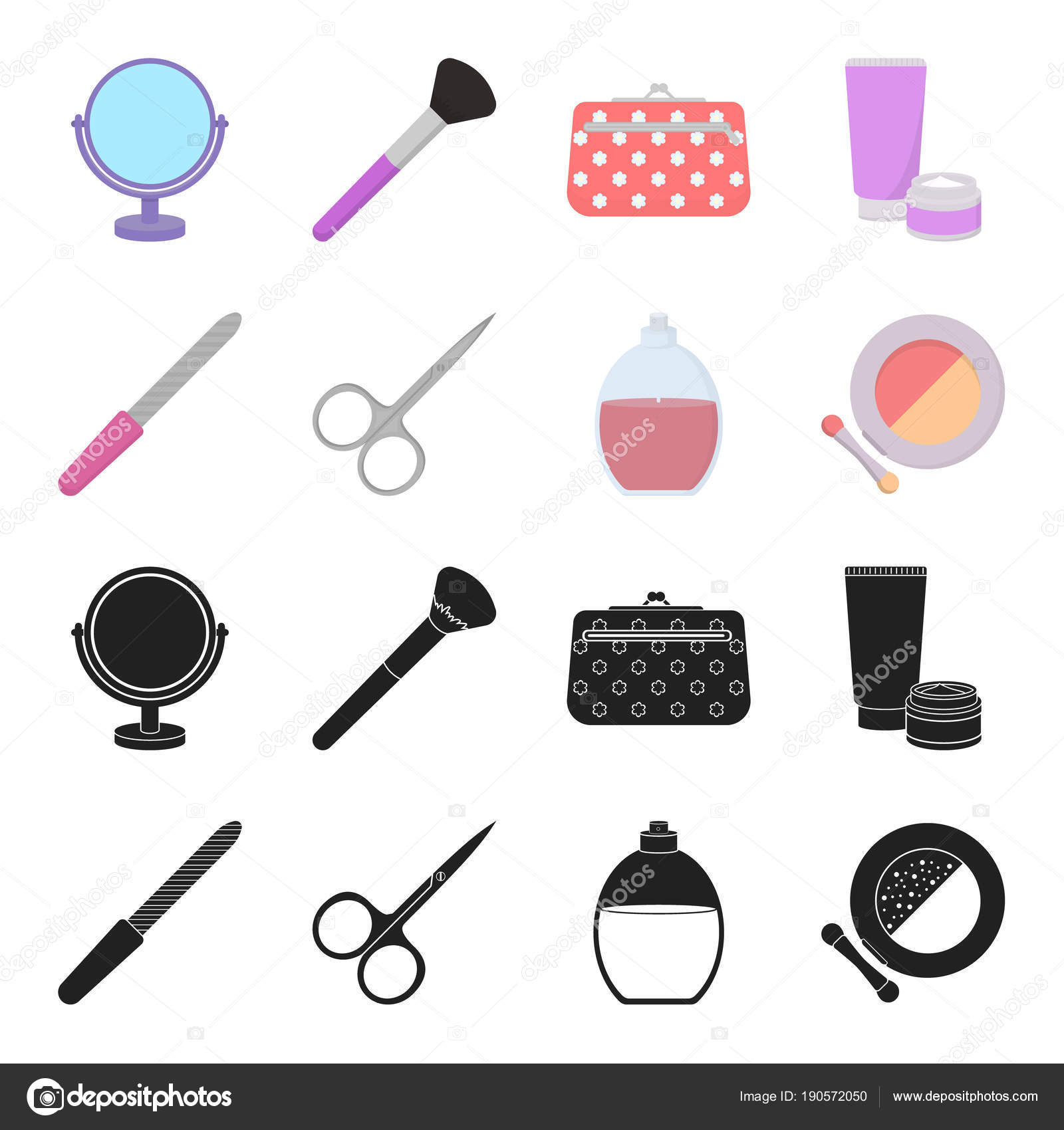 Nail file, scissors for nails, perfume, powder with a brush.Makeup ...