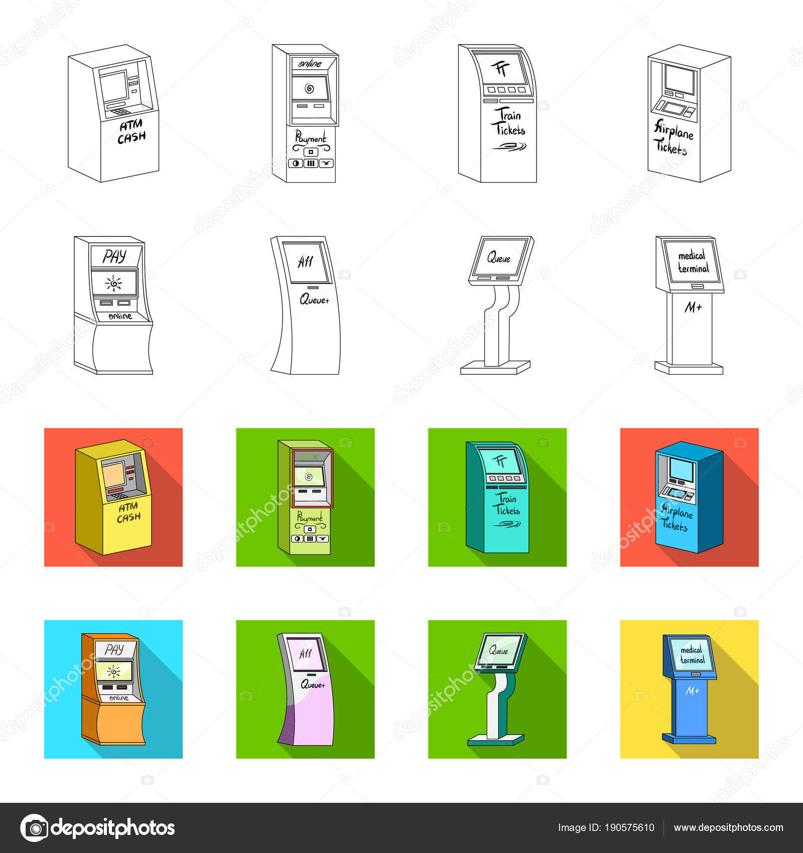 Medical terminal atm for paymentapparatus for queue terminals set medical terminal atm for paymentapparatus for queue terminals set collection icons in outlineflet style isometric vector symbol stock illustration ccuart Images
