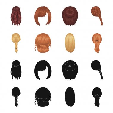 Light braid, fish tail and other types of hairstyles. Back hairstyle set collection icons in black,cartoon style vector symbol stock illustration web.