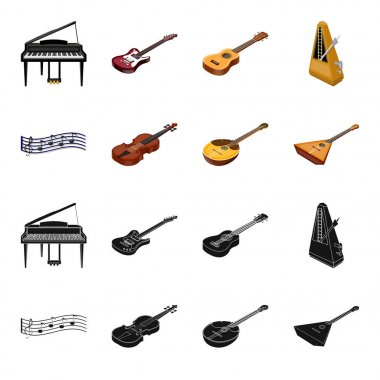 Musical instrument black,cartoon icons in set collection for design. String and Wind instrument isometric vector symbol stock web illustration.