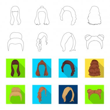 Blond with a bunch, red wavy and other types of hair. Back hair set collection icons in outline,flet style vector symbol stock illustration web.