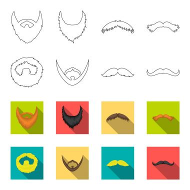 Mustache and beard, hairstyles outline,flet icons in set collection for design. Stylish haircut vector symbol stock web illustration.