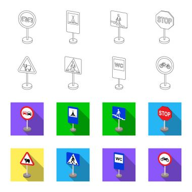 Different types of road signs outline,flet icons in set collection for design. Warning and prohibition signs vector symbol stock web illustration.