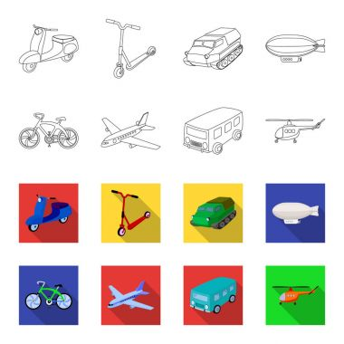 Bicycle, airplane, bus, helicopter types of transport. Transport set collection icons in outline,flet style vector symbol stock illustration web.