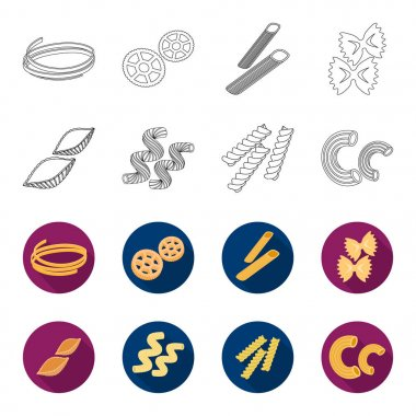 Different types of pasta. Types of pasta set collection icons in outline,flet style vector symbol stock illustration web.