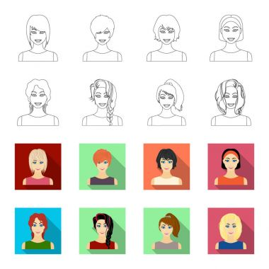 Types of female hairstyles outline,flet icons in set collection for design. Appearance of a woman vector symbol stock web illustration.