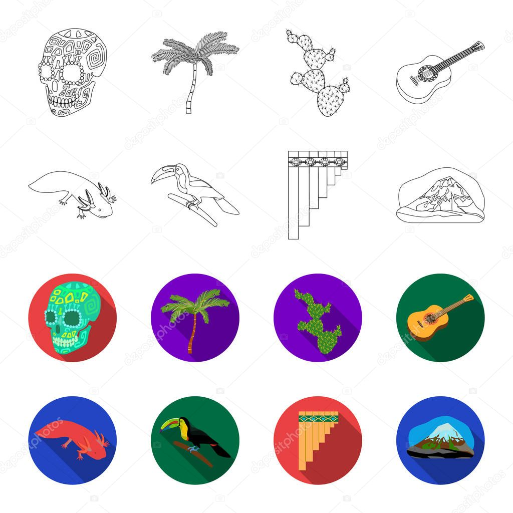 Sampono Mexican musical instrument, a bird with a long beak, Orizaba is the highest mountain in Mexico, axolotl is a rare animal. Mexico country set collection icons in outline,flet style vector
