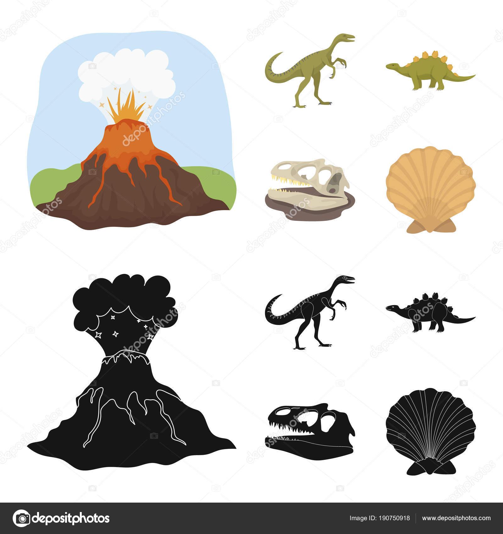 éruption Volcanique Gallimimus Stegosaurus Crâne De