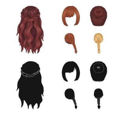 Kara, red braid and other types of hairstyles. Back hairstyle set collection icons in cartoon,black style vector symbol stock illustration web.
