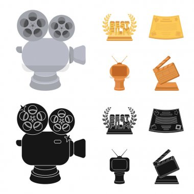 Silver camera. A bronze prize in the form of a TV and other types of prizes.Movie award,sset collection icons in cartoon,black style vector symbol stock illustration web.