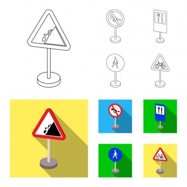 Different types of road signs outline,flat icons in set collection for design. Warning and prohibition signs vector symbol stock web illustration.