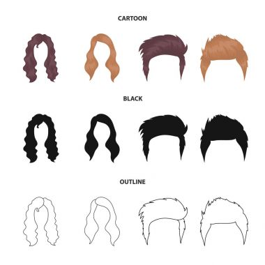 Mustache and beard, hairstyles cartoon,black,outline icons in set collection for design. Stylish haircut vector symbol stock web illustration.