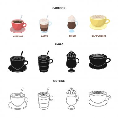 American, late, irish, cappuccino.Different types of coffee set collection icons in cartoon,black,outline style vector symbol stock illustration web.