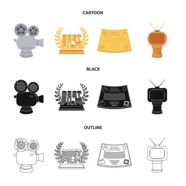Silver camera. A bronze prize in the form of a TV and other types of prizes.Movie award,sset collection icons in cartoon,black,outline style vector symbol stock illustration web.
