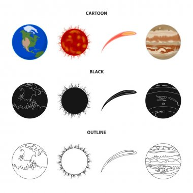 Earth, Jupiter, the Sun of the Planet of the Solar System. Asteroid, meteorite. Planets set collection icons in cartoon,black,outline style vector symbol stock illustration web.