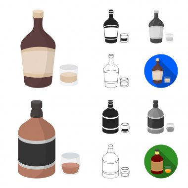 Types of alcohol cartoon,black,flat,monochrome,outline icons in set collection for design. Alcohol in bottles vector symbol stock web illustration.