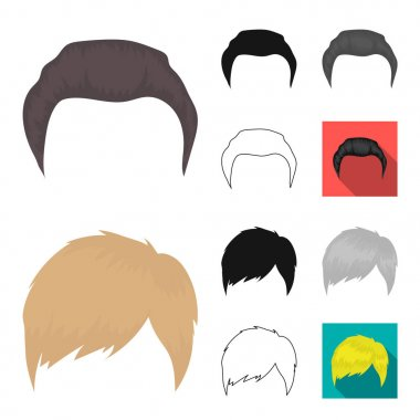 Mustache and beard, hairstyles cartoon,black,flat,monochrome,outline icons in set collection for design. Stylish haircut vector symbol stock web illustration.