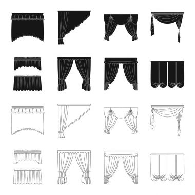 Different types of window curtains.Curtains set collection icons in black,outline style vector symbol stock illustration web.