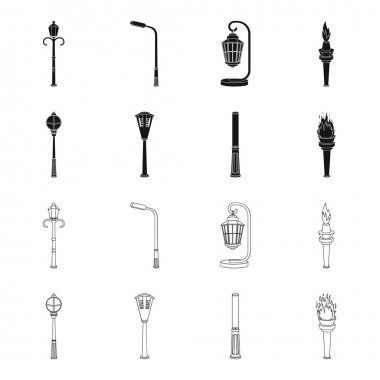 Lamppost in retro style, modern lantern, torch and other types of streetlights. Lamppost set collection icons in black,outline style vector symbol stock illustration web.