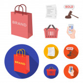Bag and paper, check, calculation and other equipment. E commerce set collection icons in cartoon,flat style vector symbol stock illustration web.
