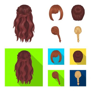 Kara, red braid and other types of hairstyles. Back hairstyle set collection icons in cartoon,flat style vector symbol stock illustration web.