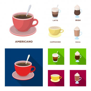 American, late, irish, cappuccino.Different types of coffee set collection icons in cartoon,flat style vector symbol stock illustration web.