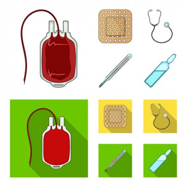 Package with donor blood and other equipment.Medicine set collection icons in cartoon,flat style vector symbol stock illustration web.