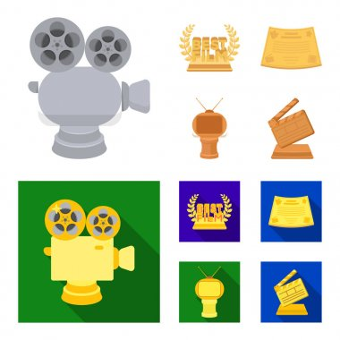 Silver camera. A bronze prize in the form of a TV and other types of prizes.Movie award,sset collection icons in cartoon,flat style vector symbol stock illustration web.
