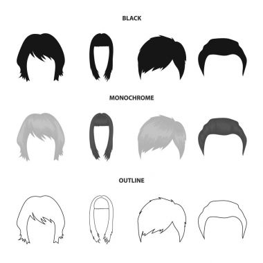 Mustache and beard, hairstyles black,monochrome,outline icons in set collection for design. Stylish haircut vector symbol stock web illustration.