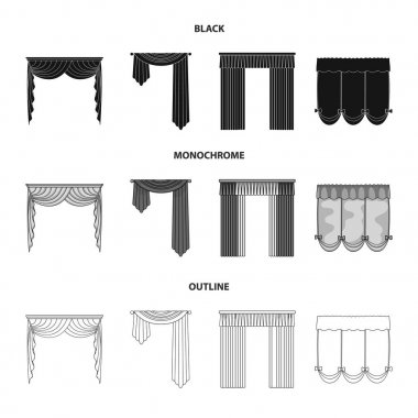Different types of window curtains.Curtains set collection icons in black,monochrome,outline style vector symbol stock illustration web.