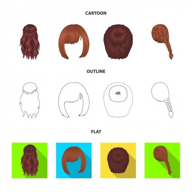 Kara, red braid and other types of hairstyles. Back hairstyle set collection icons in cartoon,outline,flat style vector symbol stock illustration web.
