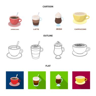American, late, irish, cappuccino.Different types of coffee set collection icons in cartoon,outline,flat style vector symbol stock illustration web.