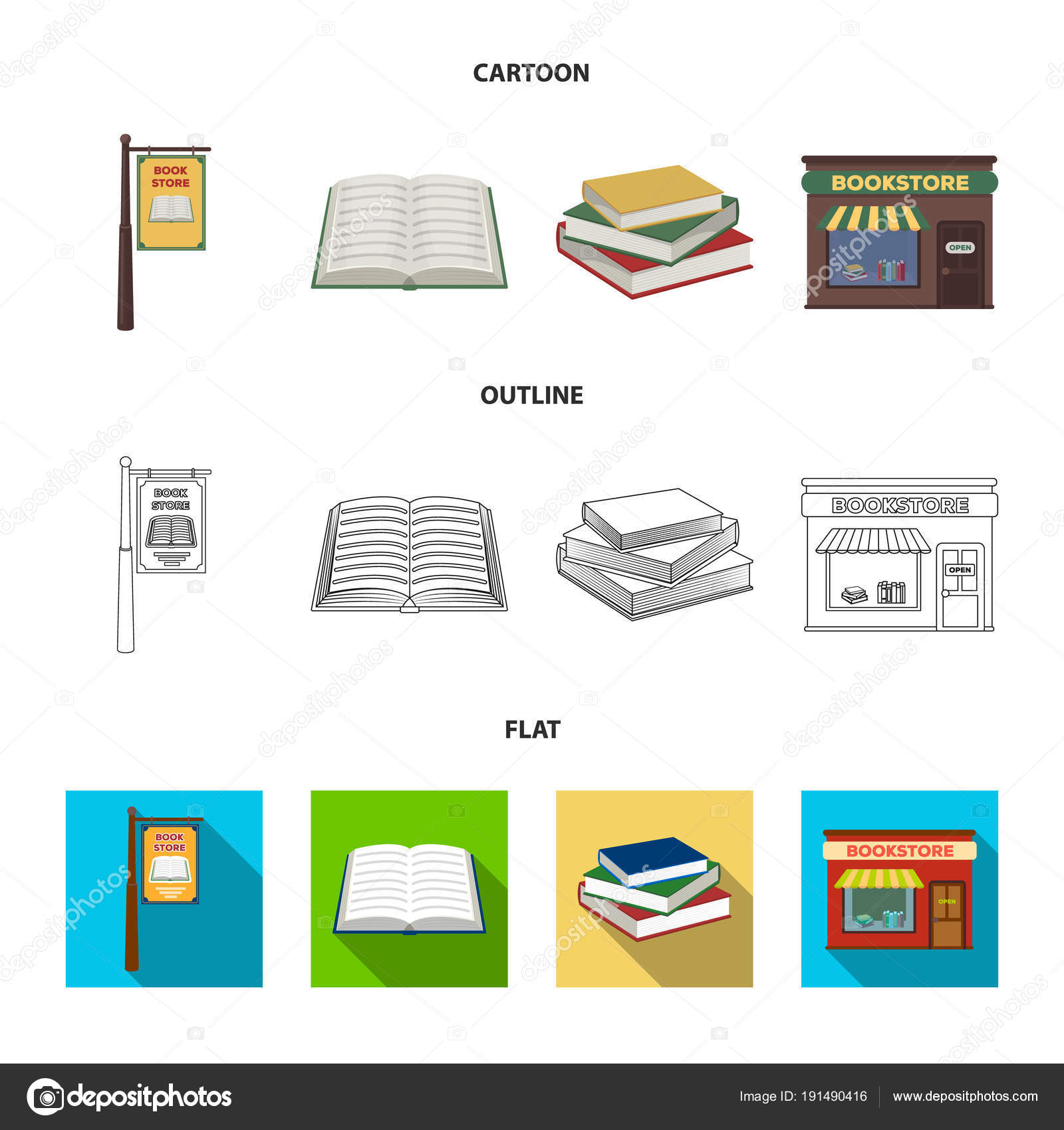 Dibujos Bibliotecas Faciles Un Letrero Una Librería Una Pila De
