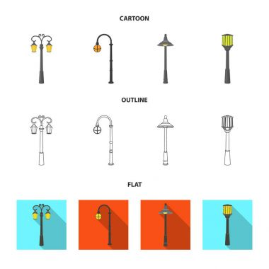 Lamppost in retro style,modern lantern, torch and other types of streetlights. Lamppost set collection icons in cartoon,outline,flat style vector symbol stock illustration web.
