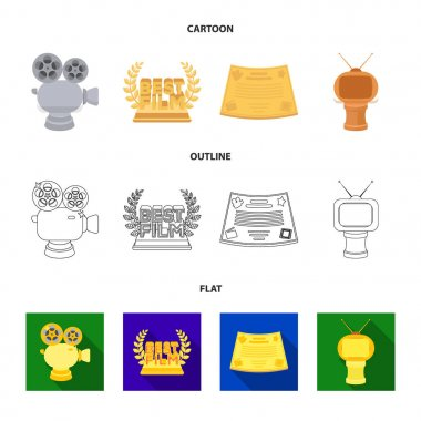 Silver camera. A bronze prize in the form of a TV and other types of prizes.Movie award,sset collection icons in cartoon,outline,flat style vector symbol stock illustration web.