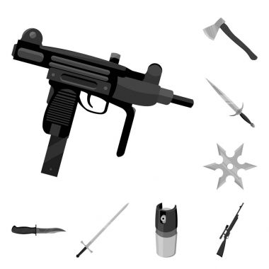 Types of weapons monochrome icons in set collection for design.Firearms and bladed weapons vector symbol stock web illustration.