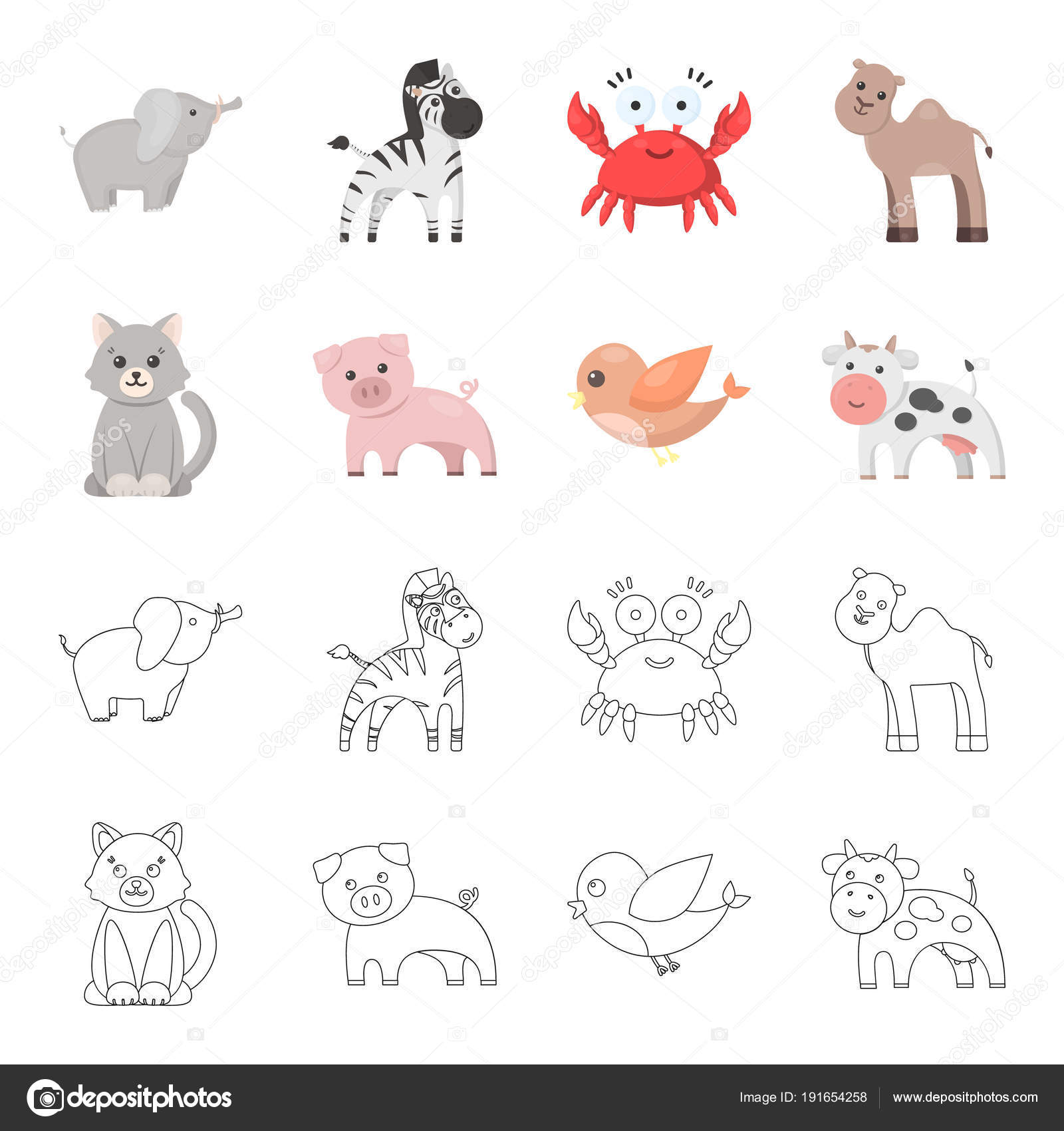 An Unrealistic Cartoonoutline Animal Icons In Set Collection For