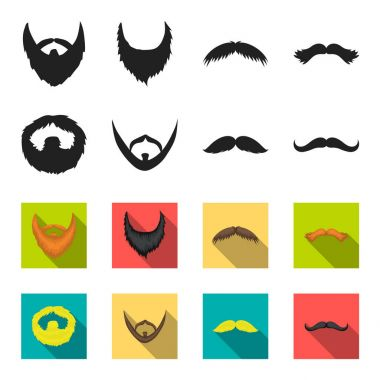 Mustache and beard, hairstyles black,flet icons in set collection for design. Stylish haircut vector symbol stock web illustration.