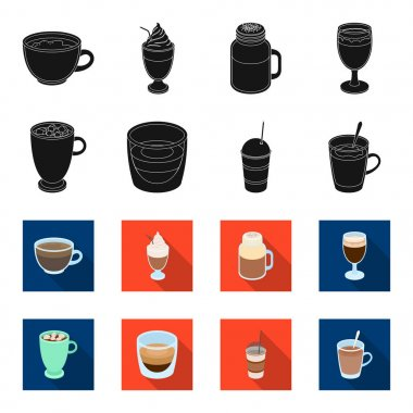 Ristretto, hot chocolate, latte take-away.Different types of coffee set collection icons in black,flet style vector symbol stock illustration web.