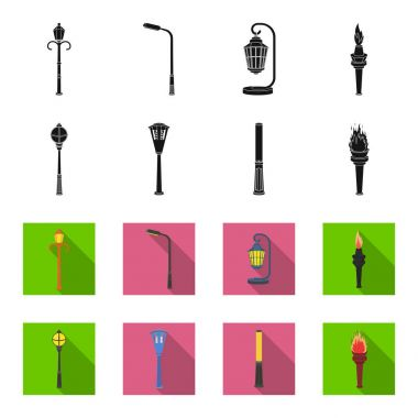 Lamppost in retro style, modern lantern, torch and other types of streetlights. Lamppost set collection icons in black,flet style vector symbol stock illustration web.